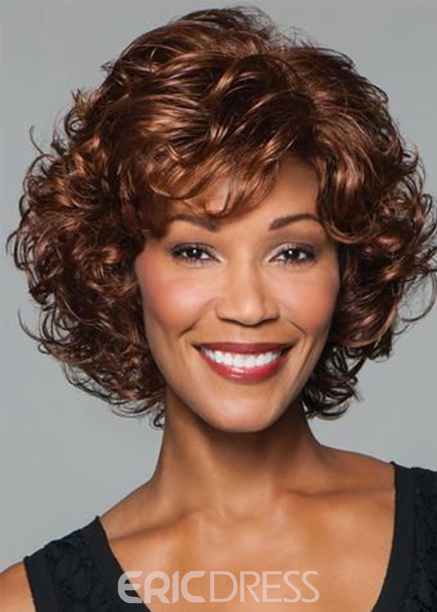 Ericdress Sexy Women's Brown Color Lace Front Cap Synthetic Hair Curly Wig 16inch