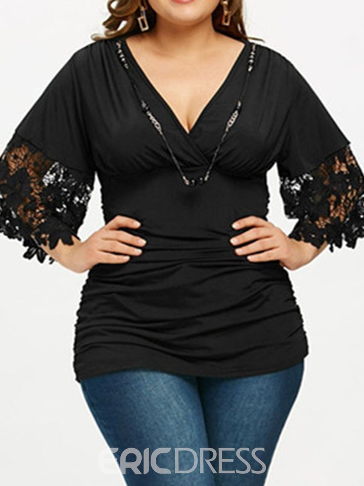 Ericdress Patchwork Hollow V-Neck Plus Size Blouse