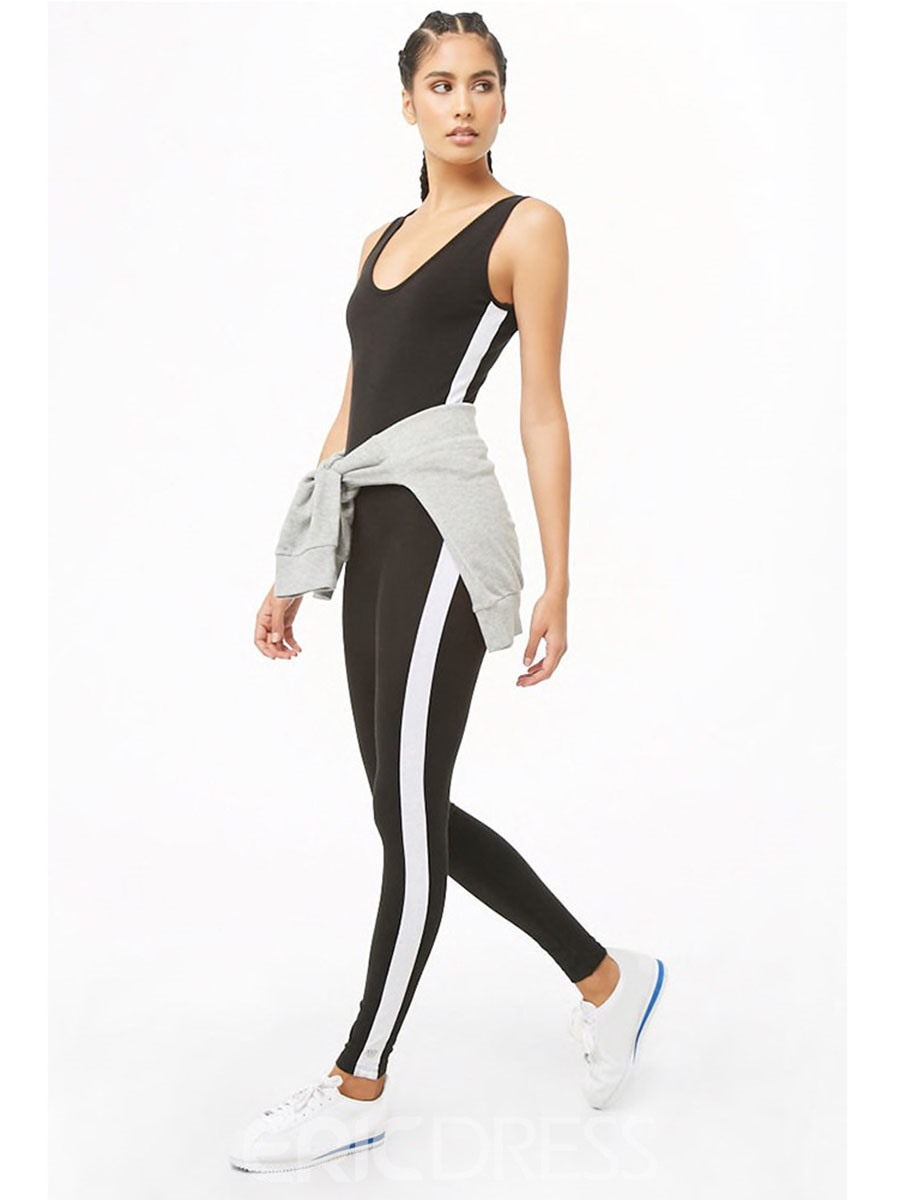 Ericdress Women Stripe Gym Sports Fitness Yoga Pants Jumpsuits