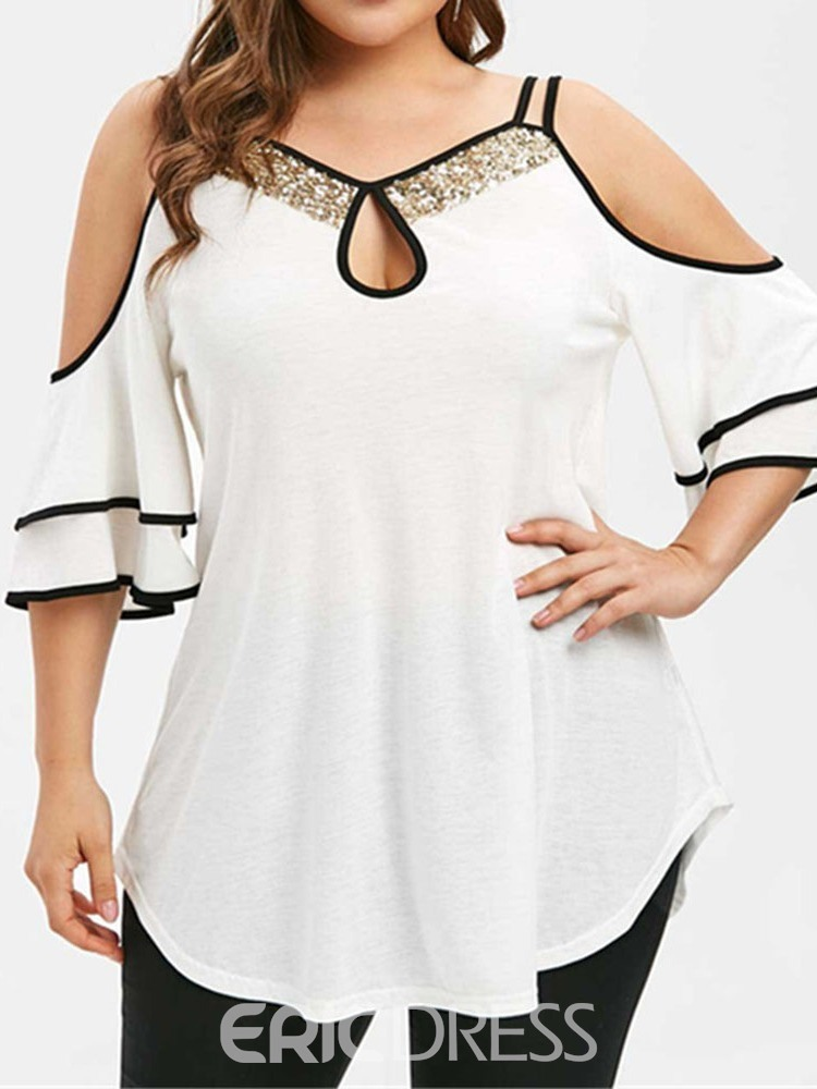 Ericdress Ruffle Sleeve Sequins Patchwork Plus Size Blouse