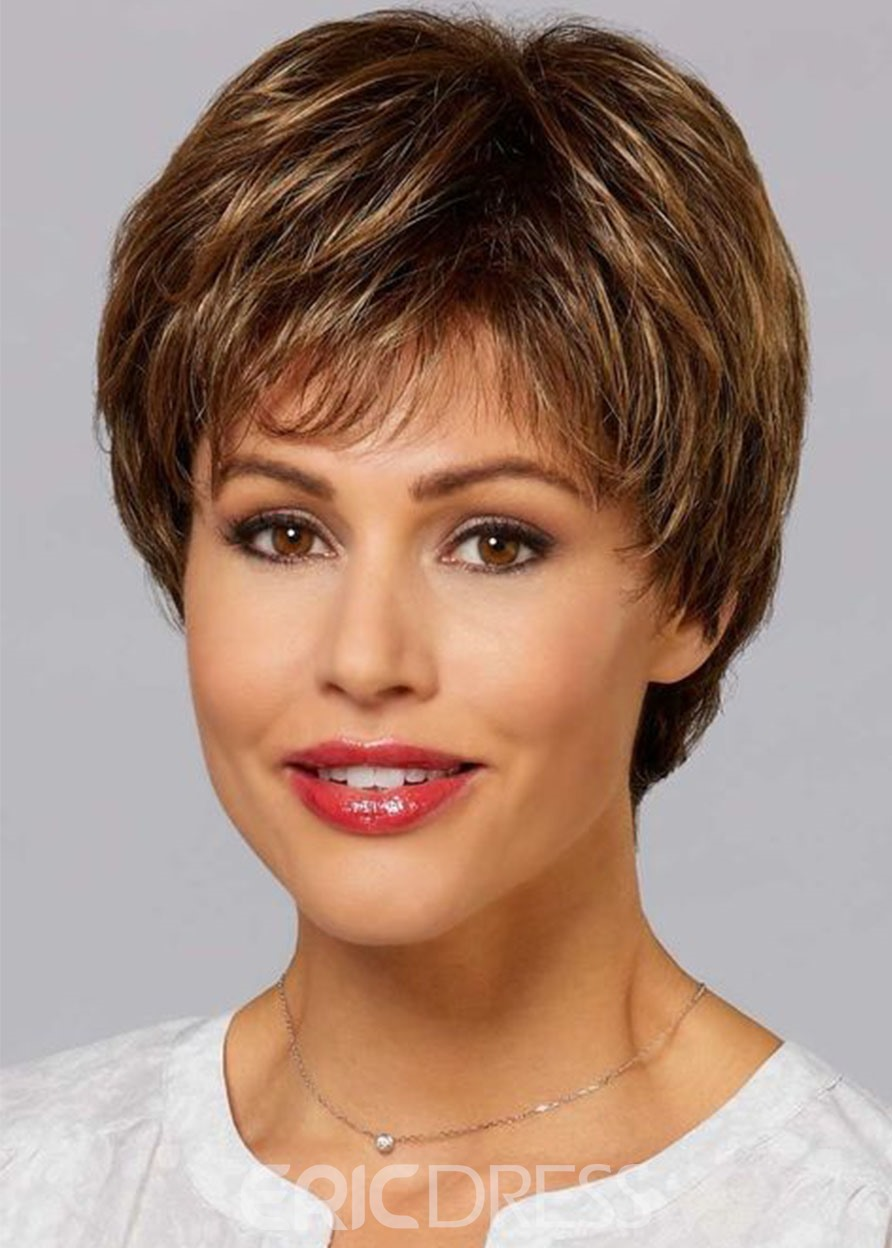 Ericdress 120% Density Synthetic Hair Wig Straight Lace Front Cap Wig 12inch