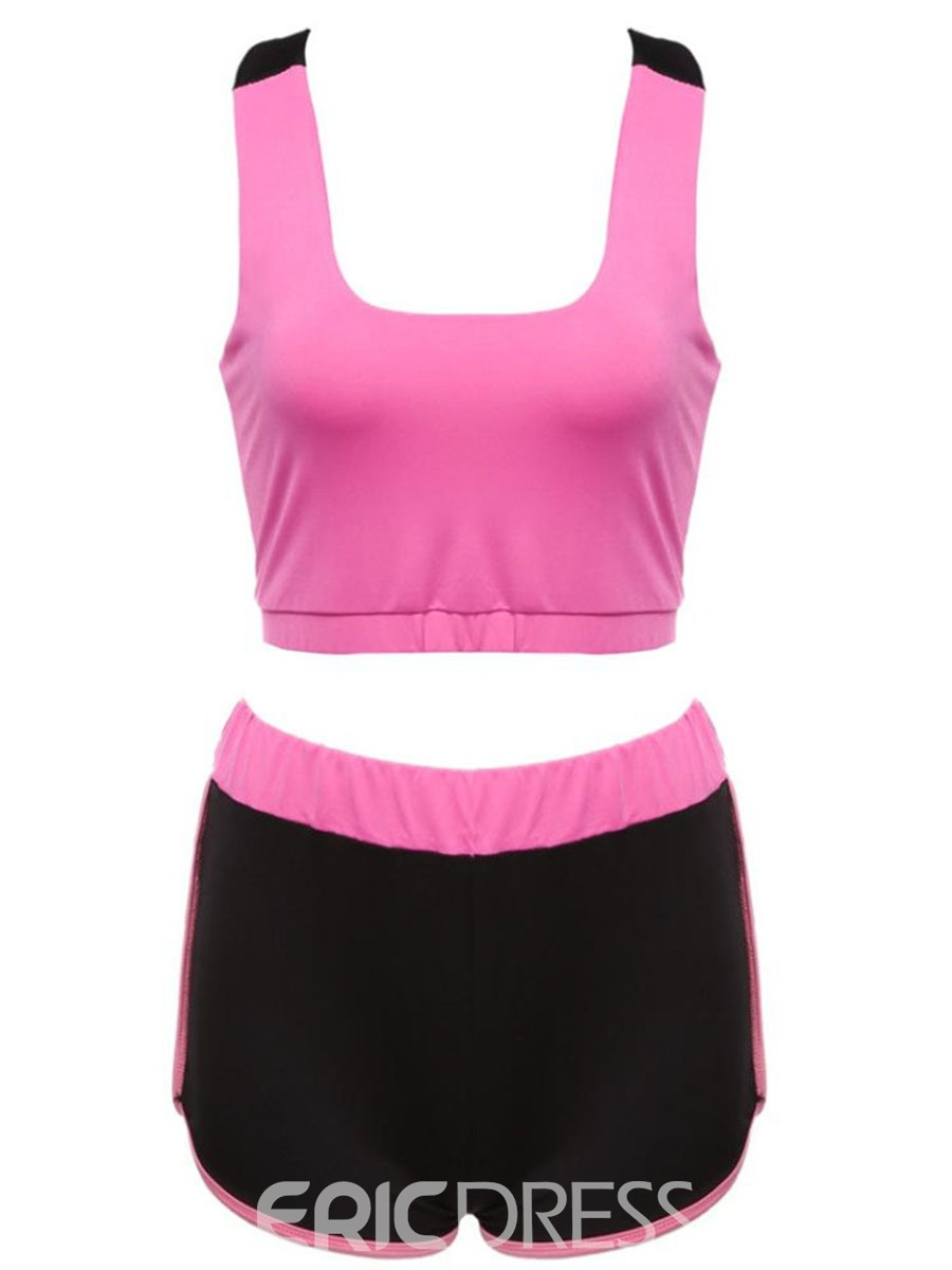 Ericdress Color Block Polyester Shorts Pullover Clothing Sets