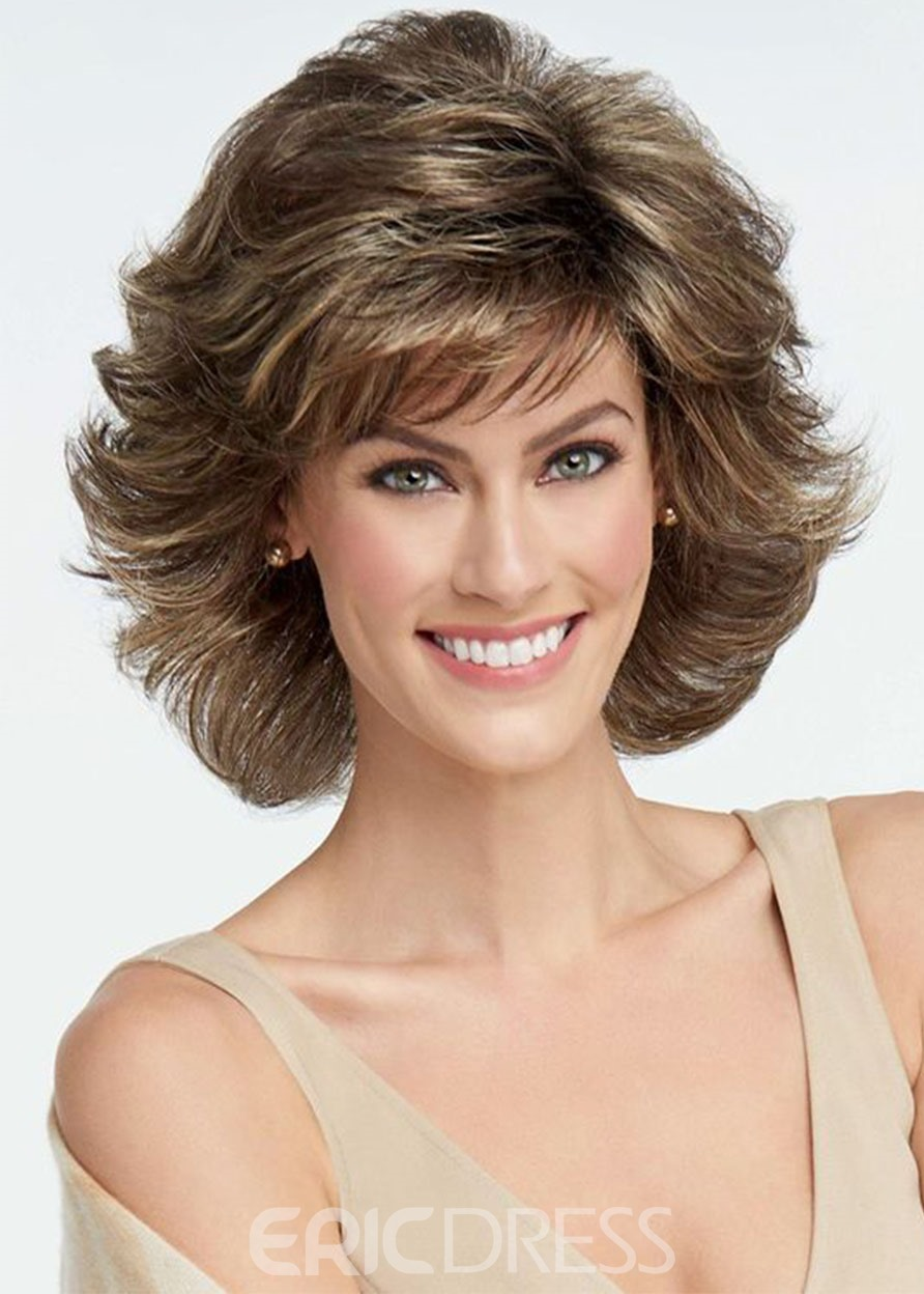 Ericdress Short Synthetic Wavy Hair Wig Brown Color Capless Wigs 14inch
