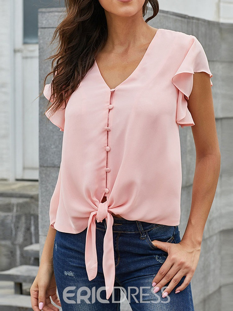 Ericdress V-Neck Patchwork Button Flare Sleeve Blouse
