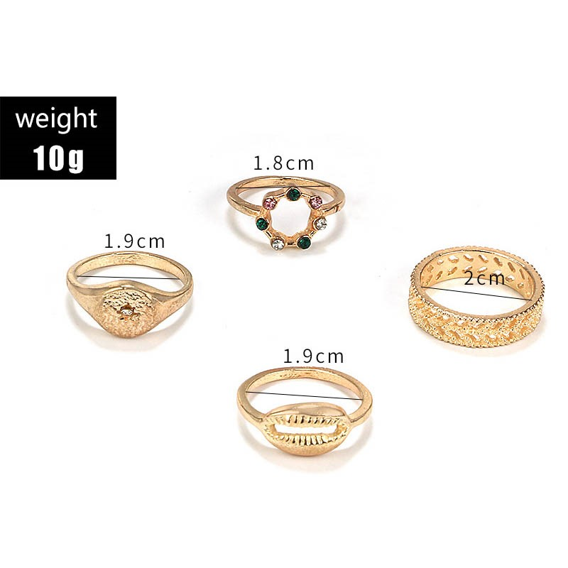 Ericdress Alloy Diamante Golden Ring Sets