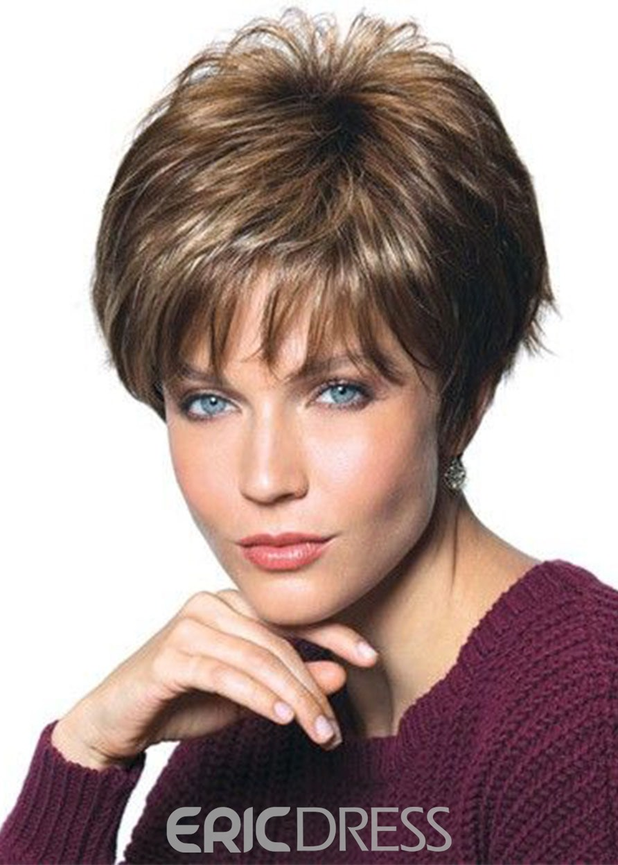 Ericdress Short Layer Natural Straight Synthetic Hair Wigs Capless Wigs 12inch
