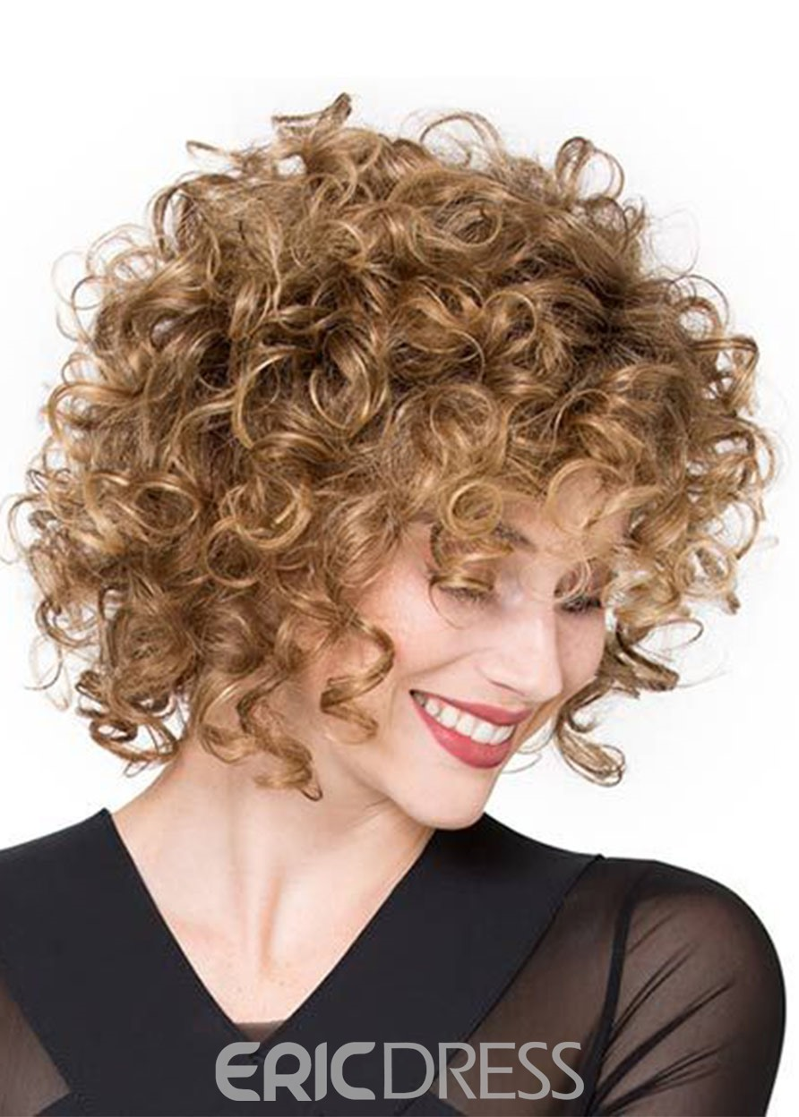 Ericdress Short Brown Afro Curly Synthetic Hair Wigs Lace Front Cap Wigs18inch