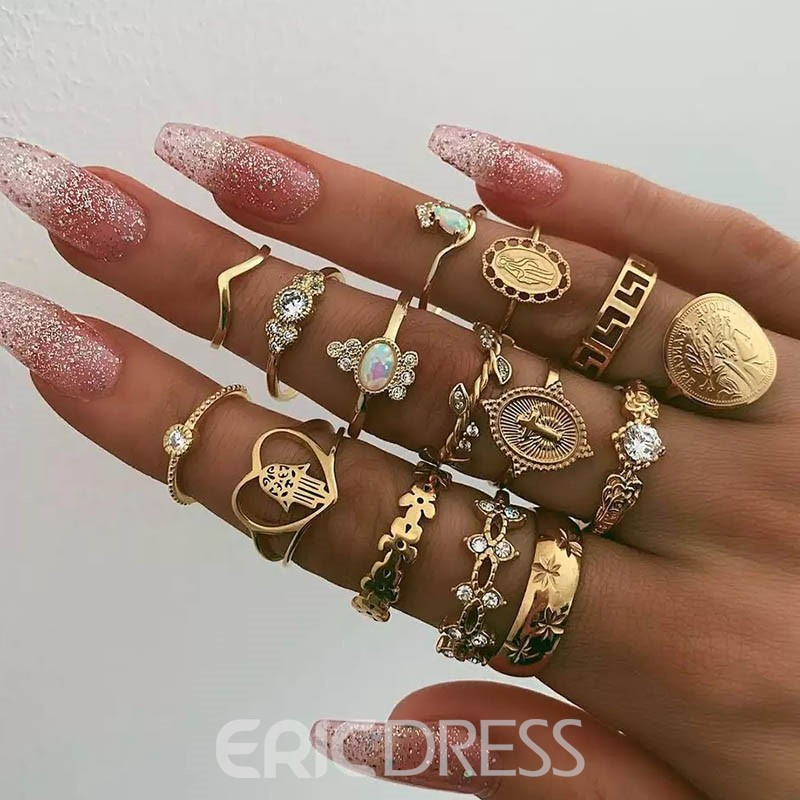 Ericdress Diamante Alloy Golden Rings