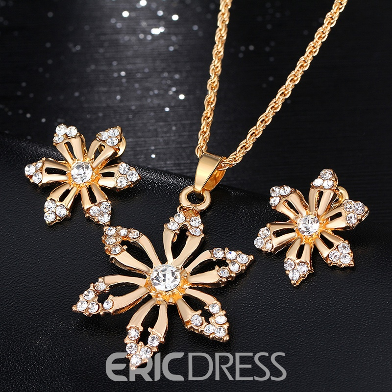 Ericdress Diamante Necklace Floral Jewelry Sets (Wedding)