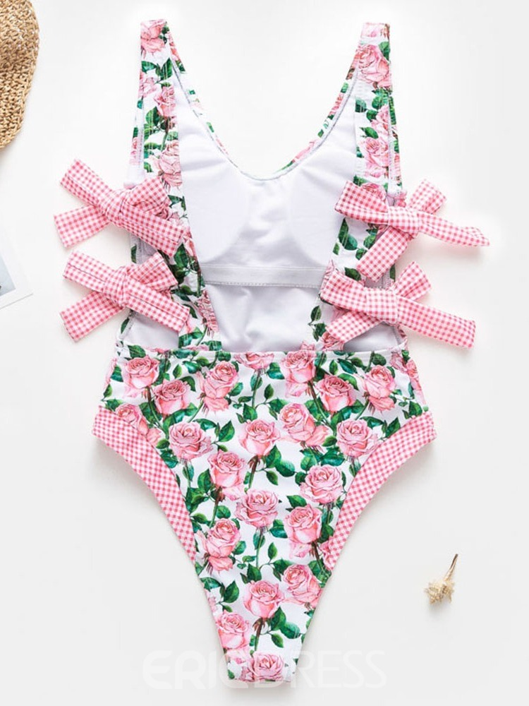 Ericdress Floral Lace-Up Bowknot Swimwear