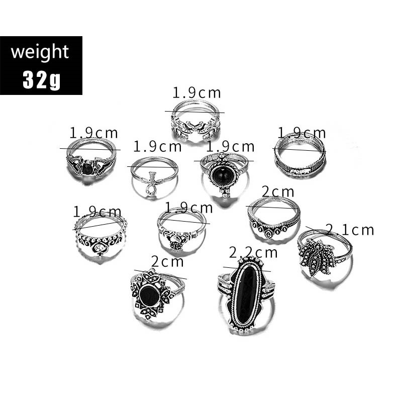 Ericdress Black Baroco Style E-Plating Rings