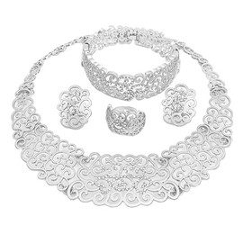 ericdress plain diamante nigeria style schmuck set