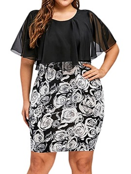 Ericdress Plus Size Short Sleeve Bodycon Floral Mid Waist Print Dress
