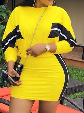 Ericdress Color Block Yellow Bodycon T-Shirt And Skirt Two Piece Sets