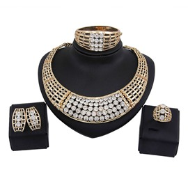Ericdress Golden Diamante Jewelry Set