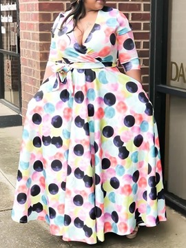 Ericdress Plus Size Print Floor-Length V-Neck Color Block Pullover Dress