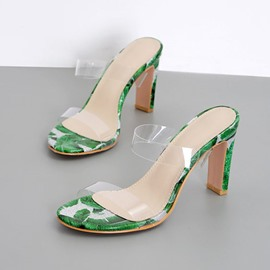 Ericdress PVC Chunky Heel Flip Flop Color Block Women's Mules Shoes