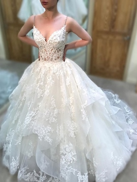 Ericdress Appliques Ball Gown Spaghetti Straps Wedding Dress 2019