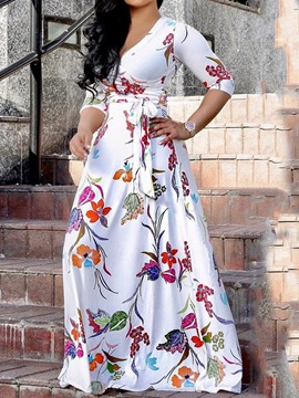 Ericdress Expansion Floral Print Floor-Length V-Neck A-Line Dress