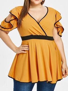 Ericdress V-Neck Color Block Pleated Plus Size Blouse