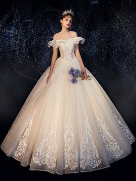 Ericdress Beading Off-The-Shoulder Ball Gown Hall Wedding Dress 2020