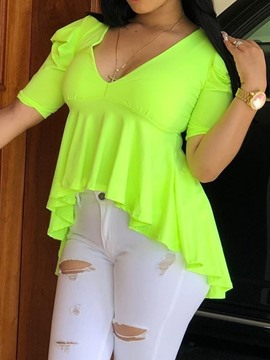 Ericdress Asymmetric Pleated Plus Size Single T-Shirt