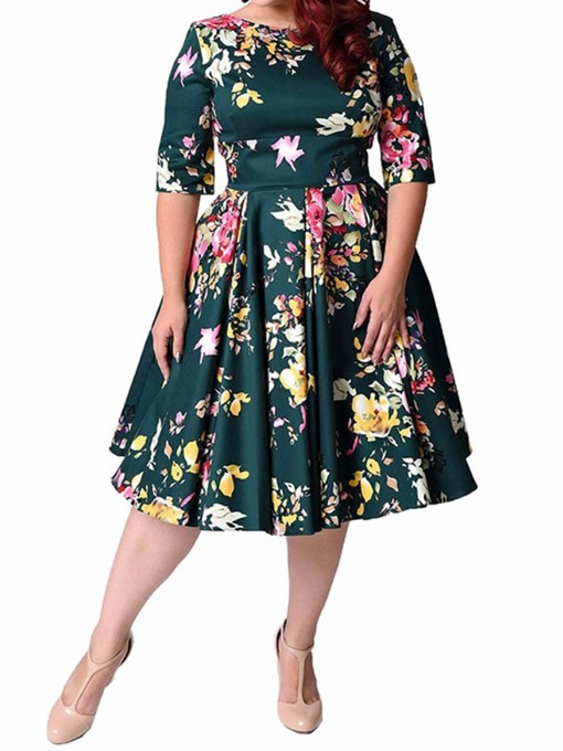 Ericdress Plus Size Half Sleeve Print Mid-Calf Pullover Floral Dress