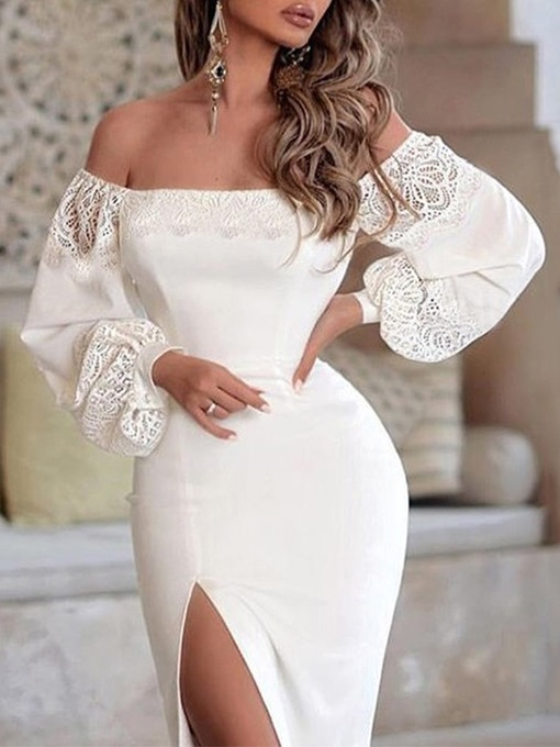 Ericdress Lace Off Shoulder Above Knee Lantern Sleeve Plain Dress