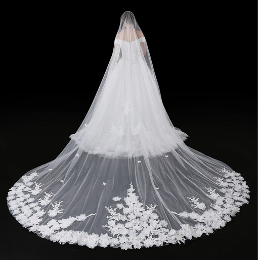 Ericdress 3D Flowers Appliques Wedding Veil 2019