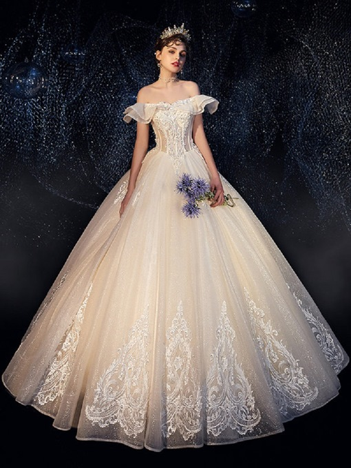 Ericdress Beading Off-The-Shoulder Ball Gown Hall Wedding Dress