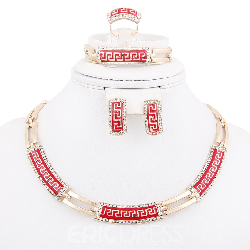 Ericdress Diamante Ethnic Style Red Jewelry Sets