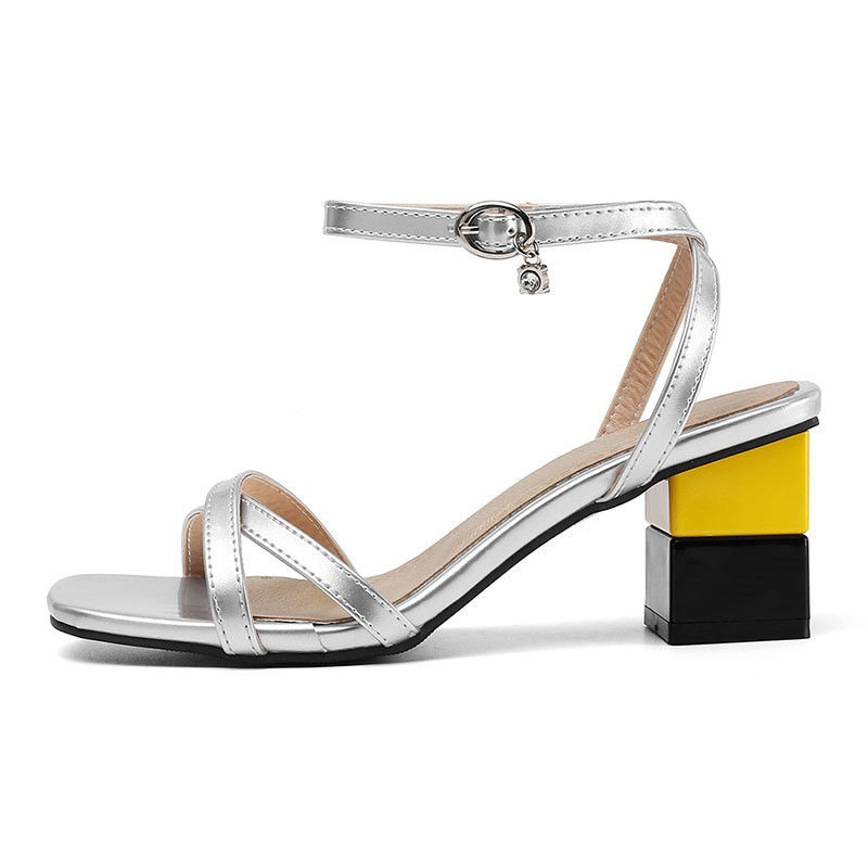 Ericdress PU Open Toe Buckle Chunky Heel Women's Sandals