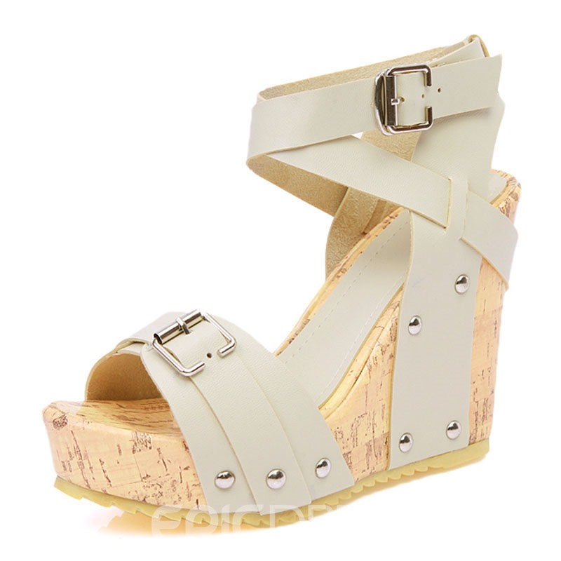 Ericdress PU Open Toe Buckle Wedge Heel Women's Sandals