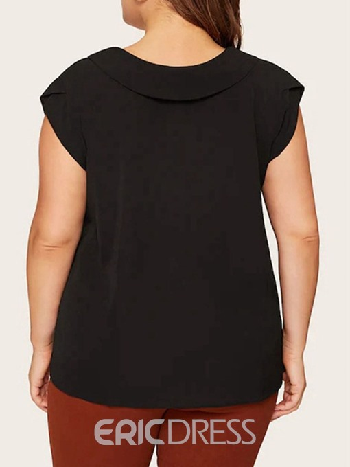 Ericdress V-Neck Plain Patchwork Plus Size Sleeveless Blouse