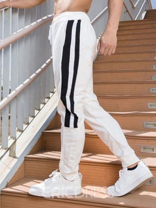 Ericdress Stripe Lace-Up Casual Low Waist Mens Pencil Pants