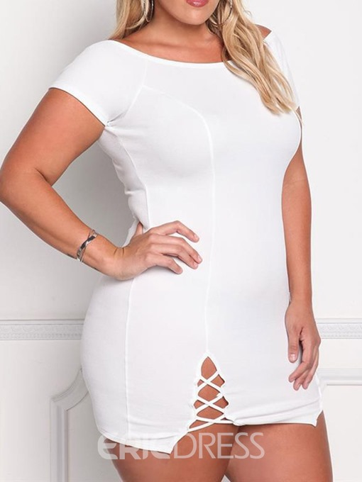 Ericdress Above Knee Round Neck Short Sleeve Plus Size Sexy Dress