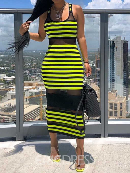 Ericdress Patchwork Sleeveless See-Through Stripe Fashion Dress