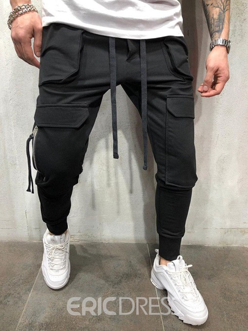 Ericdress Plain Zipper Overall Mid Waist Mens Casual Pants