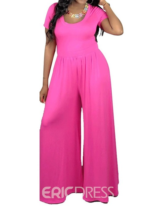 Ericdress Plain Wide Legs Casual Loose Jumpsuit