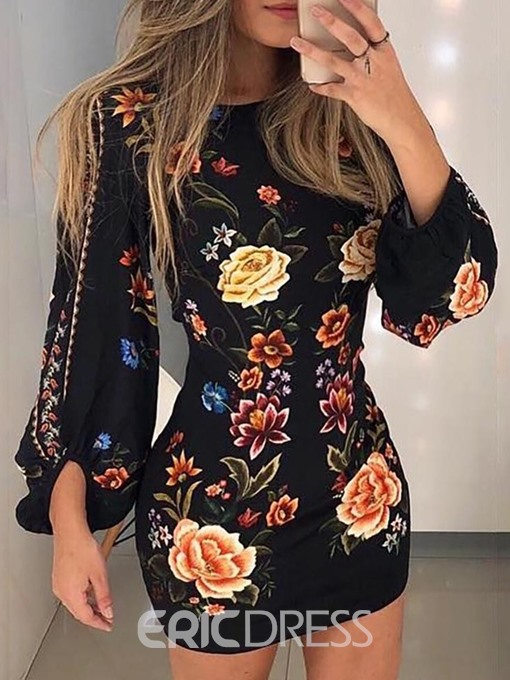 Ericdress Above Knee Print Lantern Sleeve Floral High Waist Dress