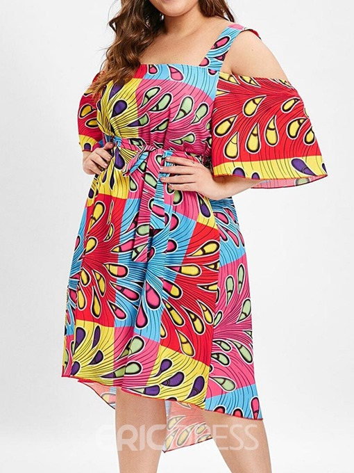 Ericdress Plus Size Half Sleeve Print High Waist Geometric Dress