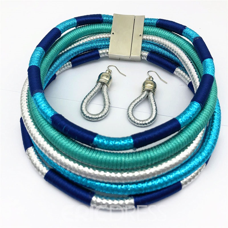 Ericdress Color Block Hoop Jewelry Sets