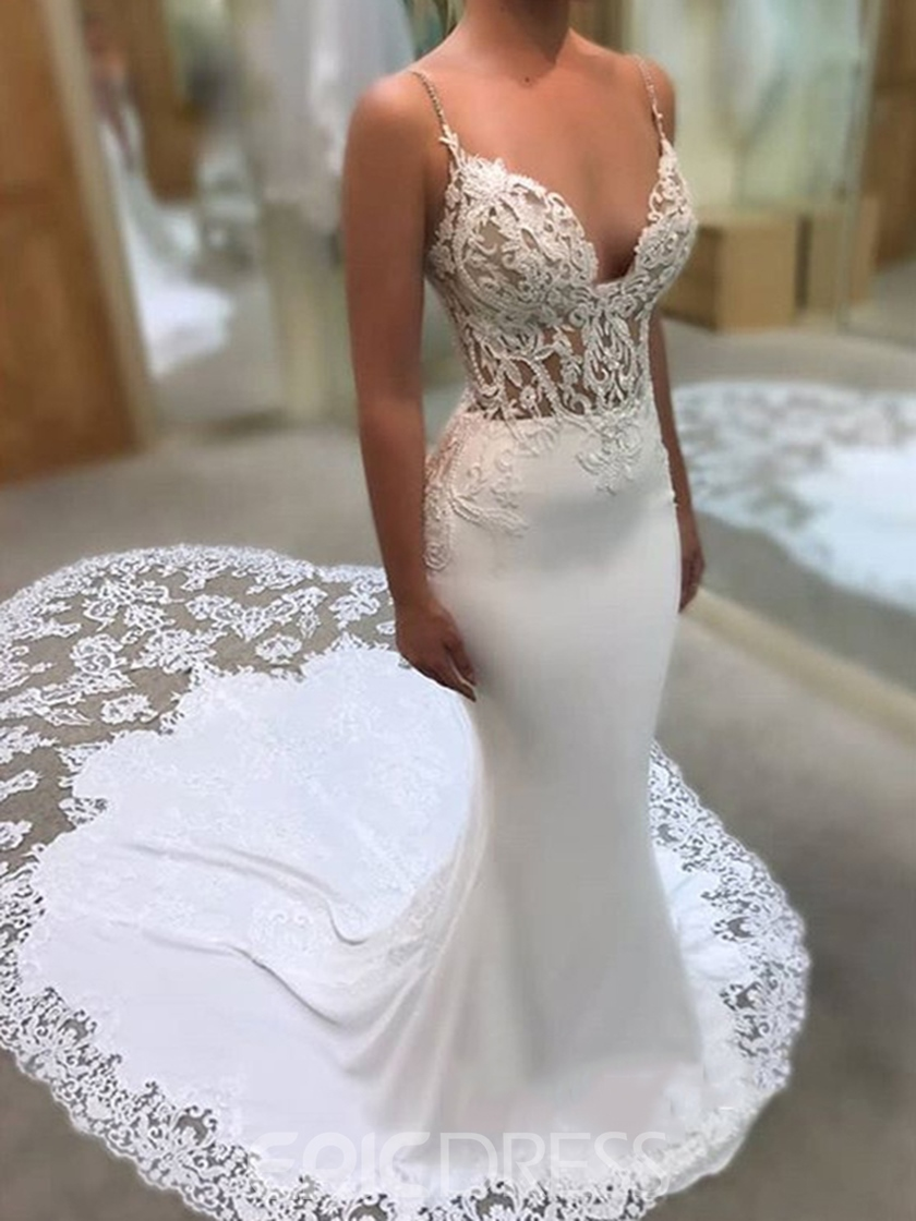 Ericdress Straps Lace Mermaid Wedding Dress 2019