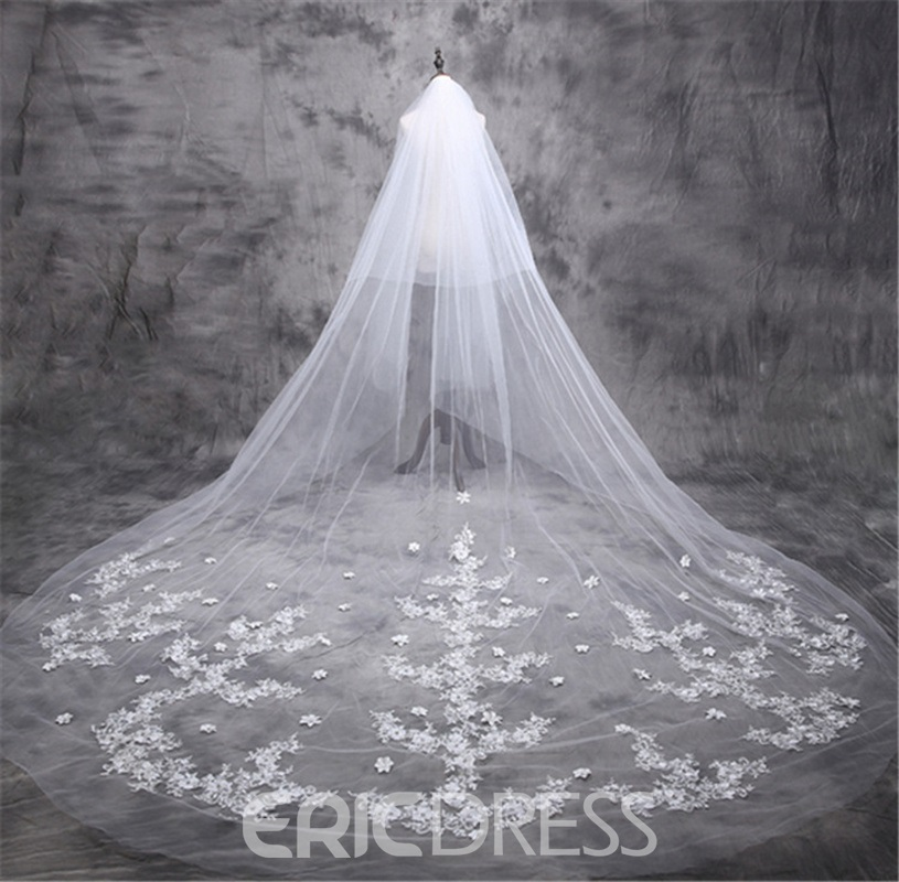 Ericdress Appliques 3D Flowers Wedding Veil