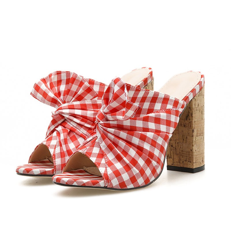 Ericdress Plaid Chunky Heel Thread Slip-On Women's Mules Shoes