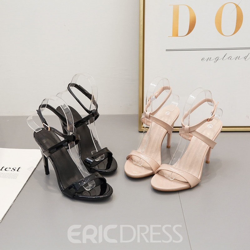 Ericdress Plain Stiletto Heel Slip-On Open Toe Women's Sandals