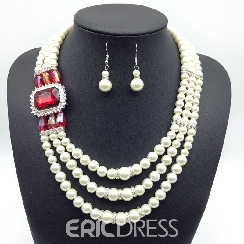 EricdressCrystal Inlaid Prom Jewelry Set