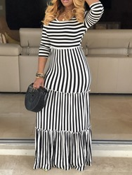 Ericdress Stripe Floor-Length Regular A-Line Maxi Dress фото