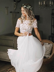 Ericdress 2 Pieces Button Appliques Beach Wedding Dress фото
