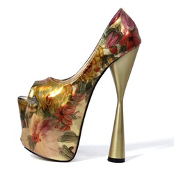 Ericdress Floral Color Block Peep Toe Slip-On Womens Prom Shoes thumbnail